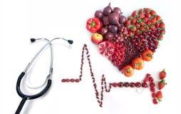 心电图心脏健康和营养概念 免版税库存照片