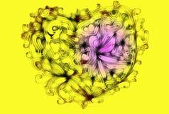 从心脏、卷毛和花饰的摘要 库存图片