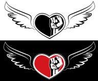 心脏、拳头和翼。纹身花刺设计 库存照片