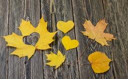 心脏、秋叶和木背景 免版税库存照片