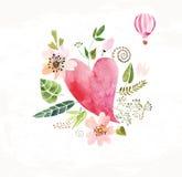 心脏、花和丝带 向量例证