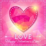 心脏。在多角形样式的愉快的情人节卡片。模板f 免版税库存照片