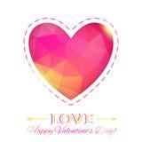 心脏。在多角形样式的愉快的情人节卡片。模板f 库存图片