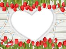 心脏与郁金香的形状框架 10 eps 免版税库存照片