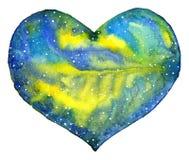 心脏与青黄色星系的空间例证 库存图片