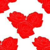 心脏传染媒介的花玫瑰色形式的无缝的样式 向量例证