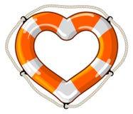 心脏传染媒介被隔绝的lifebuoy 免版税库存照片