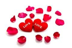 心脏作为爱的标志与上升了, valentin的天 免版税图库摄影