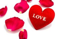 心脏作为爱的标志与上升了, valentin的天 免版税库存图片
