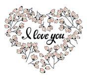 心脏做了在传染媒介的花 乱画在心脏形状的设计元素  与字法的浪漫动画片请帖 库存例证