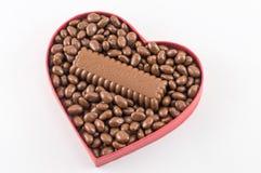 心脏充满巧克力 免版税库存图片
