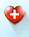 心脏加上医疗标志背景 免版税库存图片