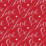 心脏和信件无缝的样式 免版税库存照片