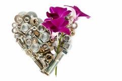 心脏和兰花 库存图片