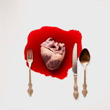 心脏和利器在血库 库存图片