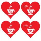 心脏和咖啡 我爱的咖啡 我喜欢的咖啡 免版税图库摄影