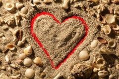 心脏和壳 沙子有红色背景 库存照片