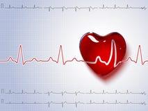 心脏和心跳 向量背景 免版税库存照片