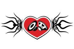 心脏和报告人。纹身花刺 图库摄影