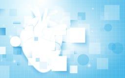 心脏和抽象长方形与科学概念在软的蓝色背景 免版税库存图片