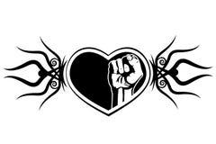 心脏和拳头。 免版税库存图片