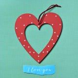 心脏和文本我爱你 免版税图库摄影