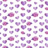 心脏和紫色玫瑰无缝的样式,水彩例证 库存例证
