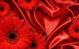 以心脏和红色大丁草flo的形式,红色缎织品装饰了 免版税库存图片