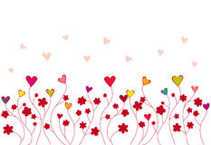 心脏和花的样式 免版税库存照片