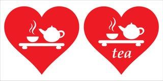 心脏和茶道 我爱茶 我喜欢茶 图库摄影