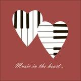 心脏和钢琴 免版税库存照片