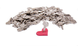心脏和钥匙 库存图片