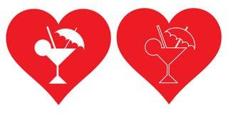 心脏和鸡尾酒 我爱鸡尾酒 库存照片