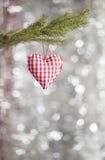 心脏圣诞树装饰品 库存照片