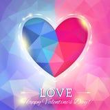 心脏在多角形样式的情人节卡片 免版税库存图片