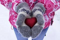 心脏在女孩` s手上 拿着心脏,冬天的少妇 免版税库存照片