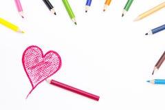 心脏在白皮书的形状图画 图库摄影