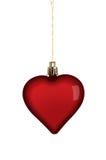 心脏在白色的圣诞节装饰 免版税库存图片