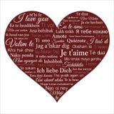 心脏在许多语言包含词组我爱你 在被回报的white.3d的词CLOUD.Isolated 皇族释放例证