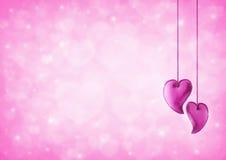 心脏在迷离桃红色心脏bokeh的爱玩具华伦泰的 图库摄影