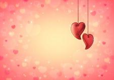 心脏在迷离红色心脏bokeh的爱玩具华伦泰的 库存照片