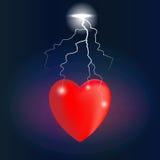 心脏在闪电碰撞的痛苦中 库存图片