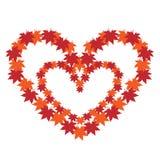 心脏在从秋叶的心脏 免版税库存照片