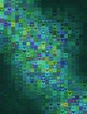 心脏在绿色光谱的形状马赛克 免版税库存照片