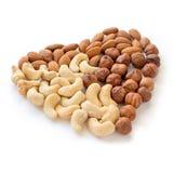 心脏坚果 腰果,杏仁榛子 食物健康素食主义者 库存照片