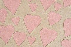 心脏塑造在沙子的样式图画 免版税库存照片