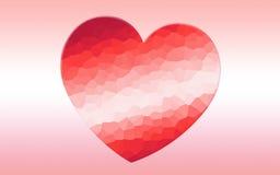 心脏多角形马赛克背景 库存图片