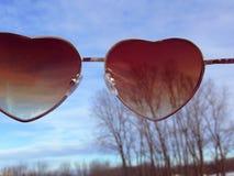 心脏太阳镜 库存图片