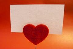 心脏夹子卡片 免版税库存图片