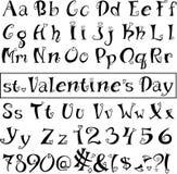 心脏字体  背景查出的白色 免版税库存图片